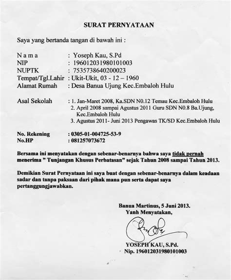 format surat pernyataan belum sertifikasi dinas pendidikan propinsi kalbar di duga korupsi dana