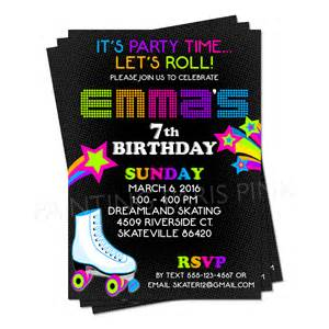neon roller skating birthday invitation