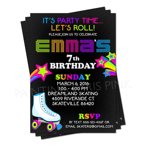 skating invitations templates roller skating invitation ideas