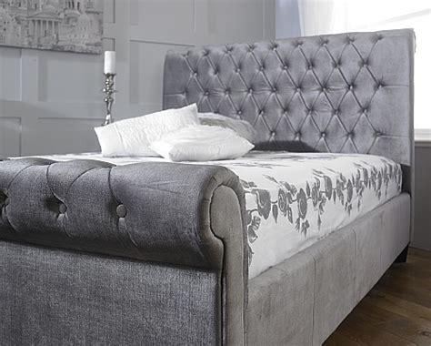 velvet bed frame orbit bed frame plush silver velvet limelight