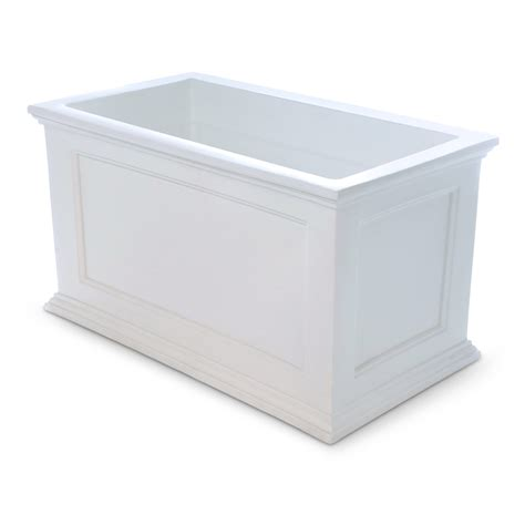 Rectangular Planters Lowes by Shop Mayne 36 In X 20 In White Resin Self Watering