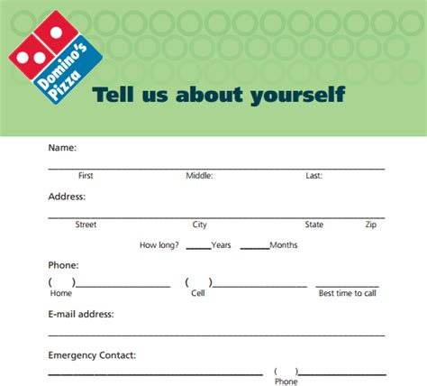 domino pizza career domino s pizza job application printable job employment