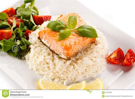 Fish Brown Rice And Vegetable Detox Diet by Grilled Salmon Rice And Vegetables Stock Photo Image