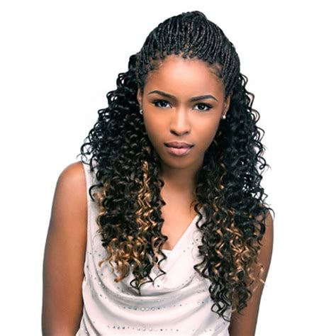 box braids hairstyle human hair or synthtic sensationnel synthetic braid beach curl bulk 24 braids