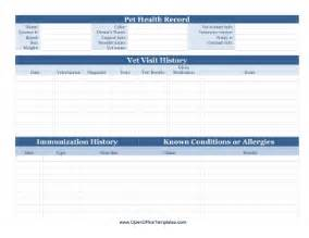 health record template pet health record openoffice template