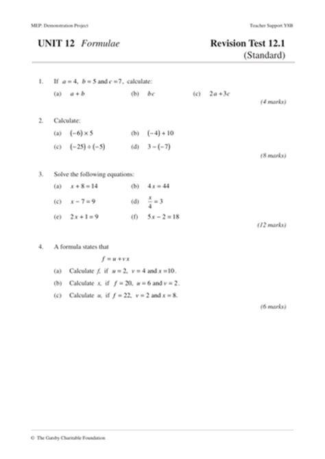 Ks3 Algebra Formulae Mep Year 8 Unit 12 By Cimt