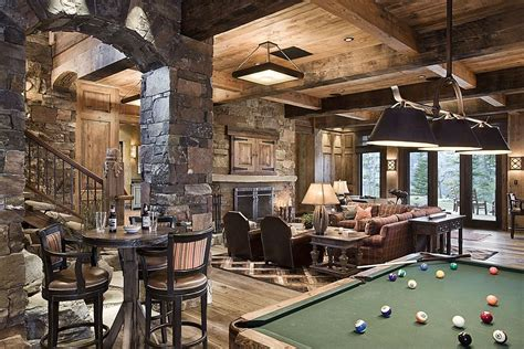 rustic cave with wall exposed beam