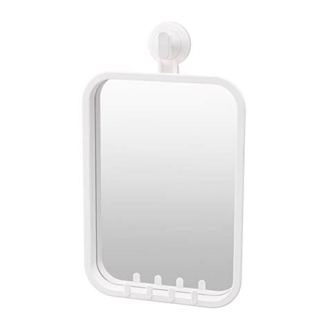 bathroom suction mirror stugvik mirror with hooks and suction cup white ikea