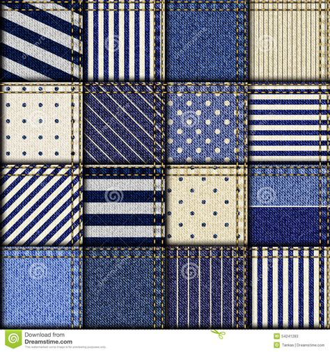 Denim Patchwork Fabric - patchwork of denim fabric vector illustration