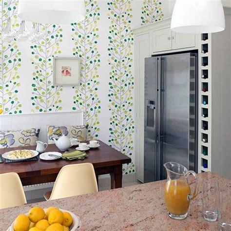 kitchen diner  green feature wallpaper kitchen