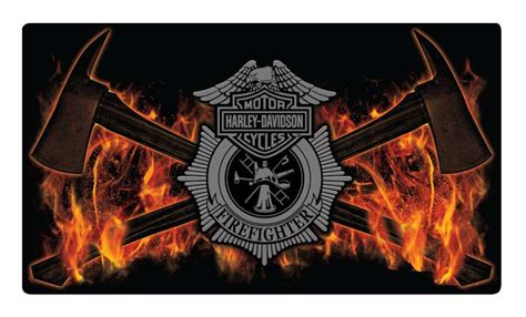 Harley Davidson Firefighter by Harley Davidson Embossed Firefighter Axes Tin Sign 16 5 X