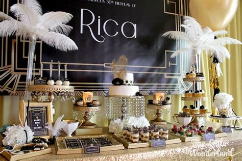 gender theme in the great gatsby kara s party ideas sweet table from a great gatsby