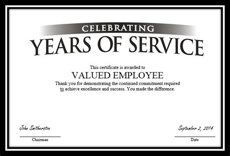 pin years of service award certificate template