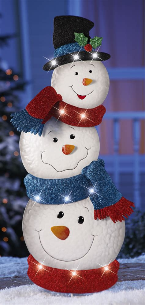 Snowman Decor by 34 Quot Lighted Stacked Snowmen Garden Stake Yard