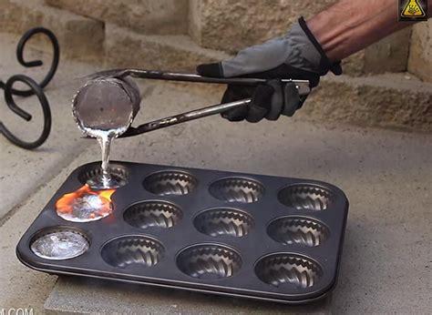 Backyard Steel Furnace Melting Aluminum Cans With 20 Homemade Mini Metal Crucible