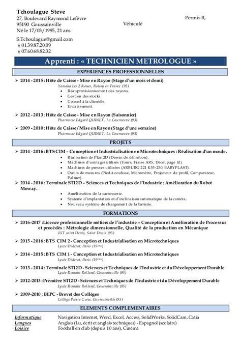 Cv Exle Francais by Cv Pour Un Contrat D Apprentissage