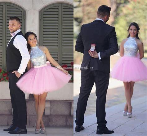 Lovely Pink Short Homecoming Dresses High Neck Halter