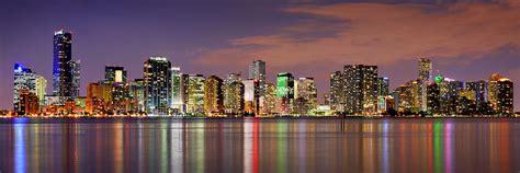 Metal Art Decor Miami Skyline At Dusk Sunset Panorama Photograph By Jon