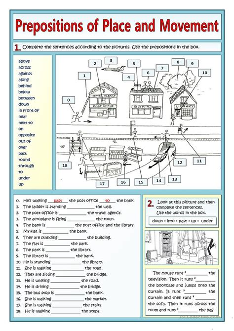 esl printable worksheets prepositions of place prepositions of place and movement and places in town