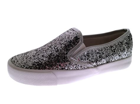 glitter shoes glitter skate pumps slip on trainers plimsolls