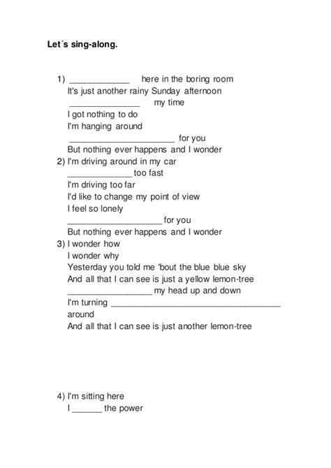 here in my room lyrics lemon tree lyrics