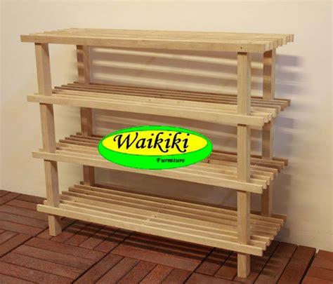 Rak Piring Kayu Minimalis jual rak sepatu kayu 4 susun minimalis waikiki wow