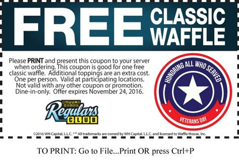 waffle house veterans day free classic waffle at waffle house until november 24th 2016 doctor of credit