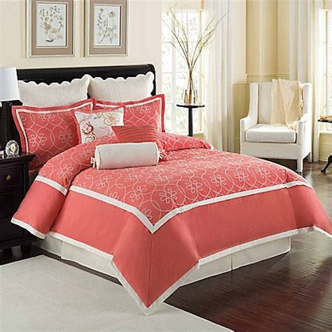 bed bath beyond bedding williamsburg comforter set in coral bed bath beyond