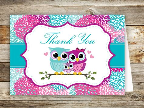 owl thank you card template owl baby shower thank you cards printable