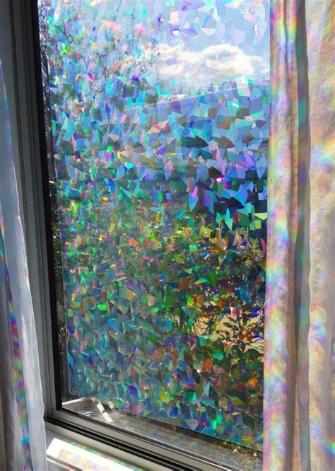 house window privacy film decorative window film holographic prismatic etched glass effect