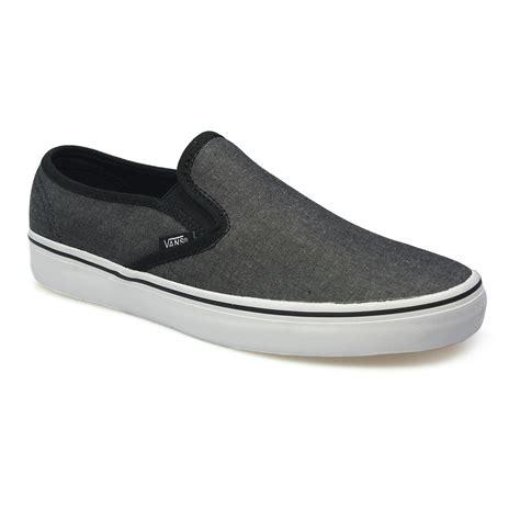 vans lp slip on black white chambray mens womens