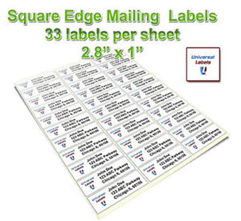 33 labels per sheet template 1650 2 5 6x1 labels 33 labels per sheet square edge avery