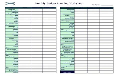personal financial planner template personal financial planning template free