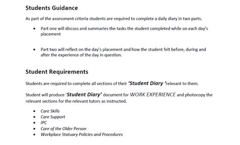 layout for work experience diary work experience diary student diary guidance