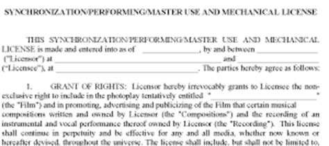 Movie Tv Contracts Pro Exle Forms Master And Sync License Template