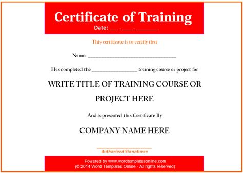 training certificate template word format about ms word