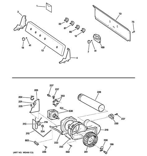 ge dryer parts diagram assembly view for backsplash blower motor assembly