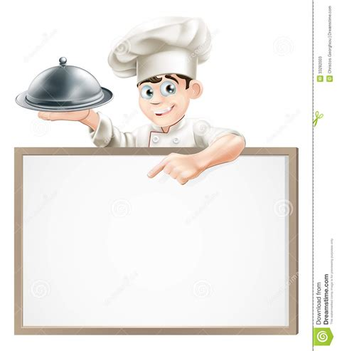 Kitchen Program Design Free cartoon chef with cloche and menu stock photos image
