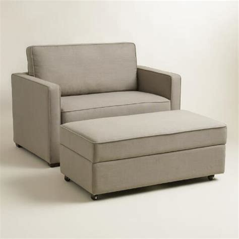 chair and a half sleeper with ottoman pebble gray chad chair and a half twin sleeper world market