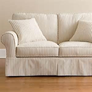 Striped Sofa And Loveseat Friday Stripe Slipcovered Loveseat Tan Stripe