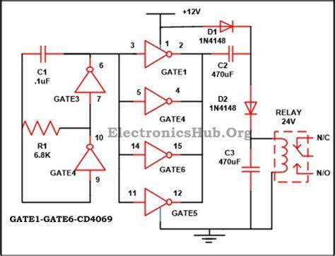 12vdc to 12vac converter circuit diagram 12v to 24v dc converter circuit using hex inverter ic cd4049
