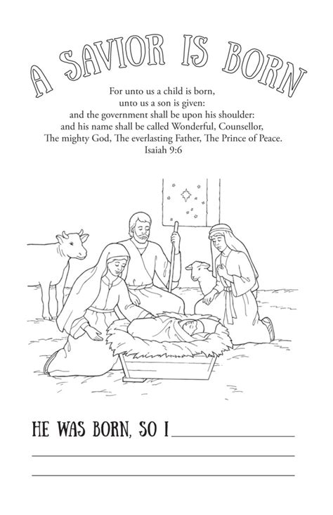 lds coloring pages of the savior a savior is born printable coloring page the mormon home