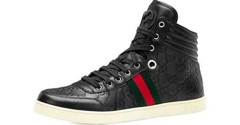 gucci leather high top sneaker black gucci coda ssima leather high top sneaker in black for