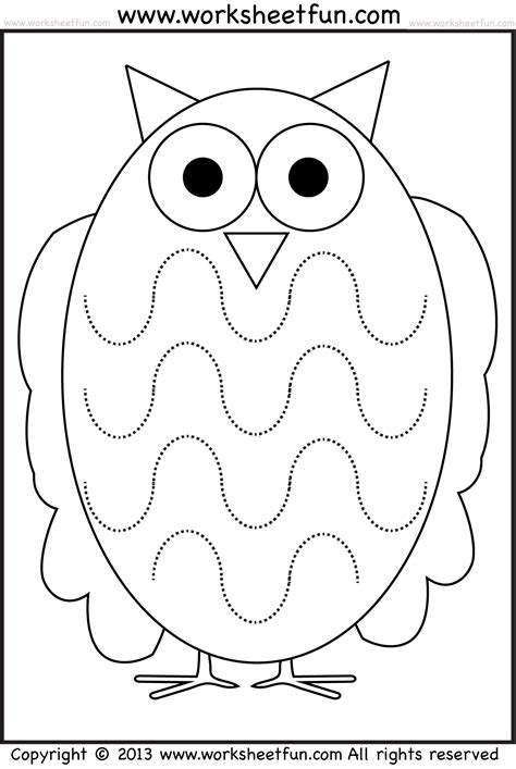 printable owl worksheets free coloring pages of tracing line horizontal