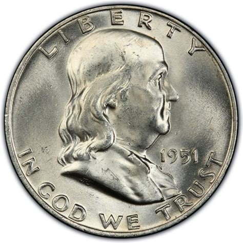 1951 franklin half dollar values and prices past sales