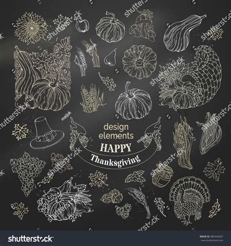 traditional design elements vector vector set chalk thanksgiving design elements stock vector