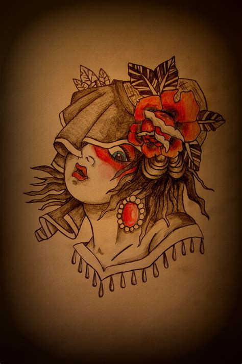 traditional gypsy tattoo traditional flash by battered n bruised on