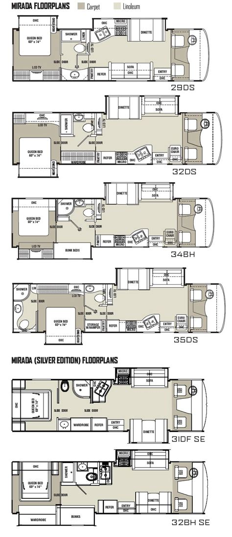 Coachmen Rv Floor Plans by Coachmen Mirada Class A Motorhome Floorplans 2011