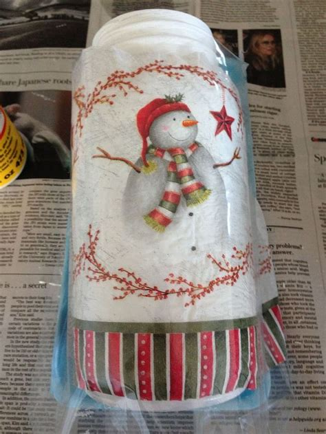 how to decoupage christmas napkins on mason jar with snow