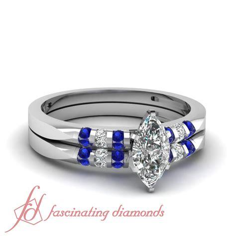 Wedding Rings Marquise Cut by 3 4 Carat Marquise Cut Platinum Wedding Rings Set